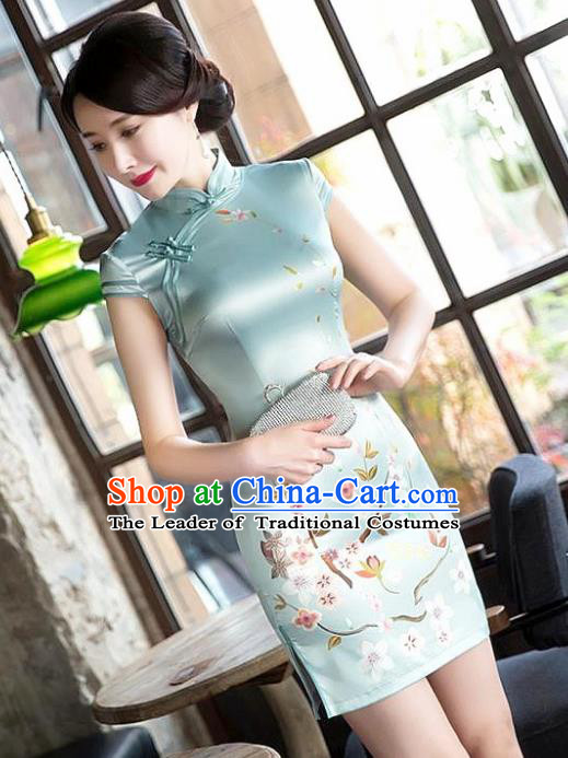 Chinese National Costume Tang Suit Printing Qipao Dress Traditional Republic of China Green Silk Cheongsam for Women