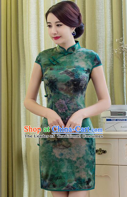 Chinese National Costume Tang Suit Printing Green Silk Retro Qipao Dress Traditional Republic of China Cheongsam for Women