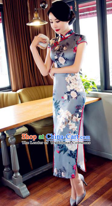 Chinese National Costume Retro Printing Grey Qipao Dress Traditional Republic of China Tang Suit Cheongsam for Women