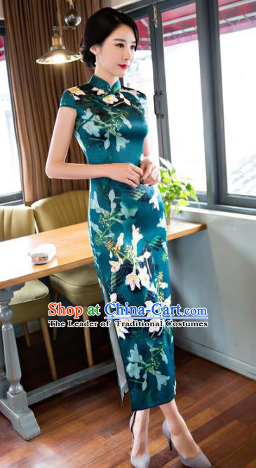 Chinese National Costume Retro Printing Green Satin Qipao Dress Traditional Republic of China Tang Suit Cheongsam for Women