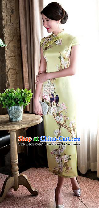 Chinese National Costume Retro Printing Yellow Silk Qipao Dress Traditional Republic of China Tang Suit Cheongsam for Women