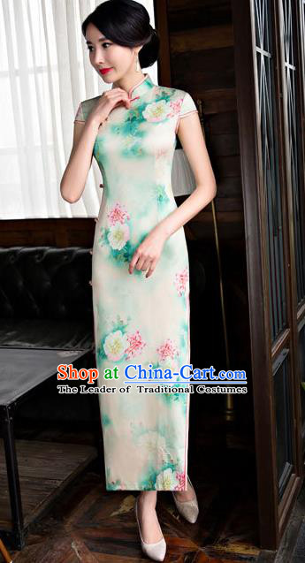 Chinese National Costume Retro Printing Light Green Silk Qipao Dress Traditional Republic of China Tang Suit Cheongsam for Women