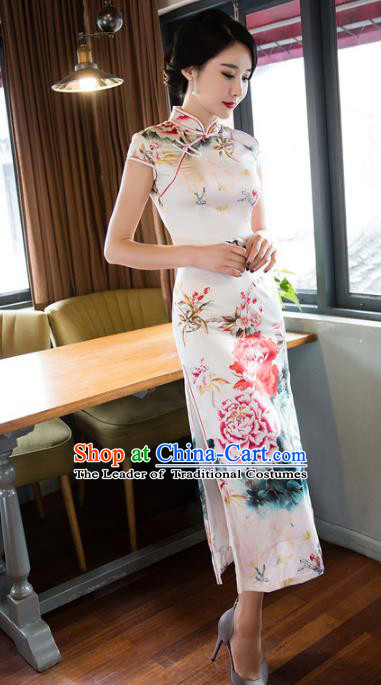 Chinese National Costume Retro Printing Peony Silk Qipao Dress Traditional Republic of China Tang Suit Cheongsam for Women