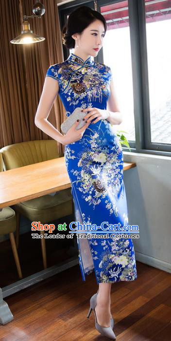 Chinese National Costume Retro Printing Royalblue Silk Qipao Dress Traditional Republic of China Tang Suit Cheongsam for Women