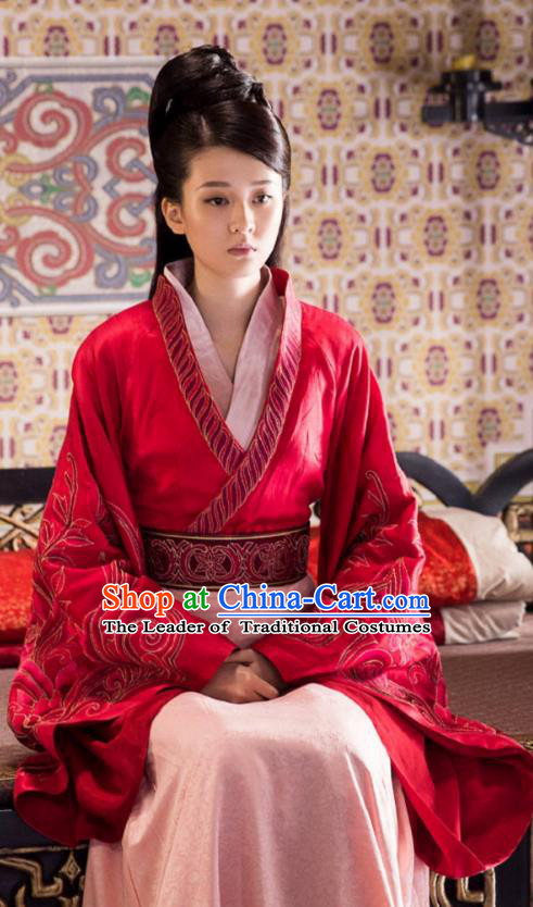 Chinese Ancient Princess Consort Hanfu Dress Television Drama Nirvana in Fire Xun Anru Embroidered Replica Costume for Women