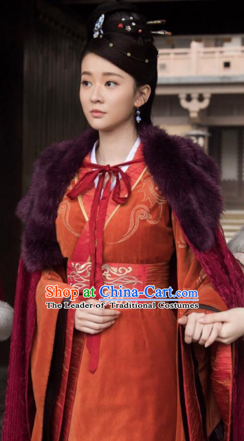 Chinese Ancient Nobility Lady Hanfu Dress Television Drama Nirvana in Fire Princess Consort Embroidered Replica Costume for Women