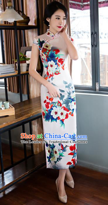 Chinese National Costume Retro Printing Flowers White Silk Qipao Dress Traditional Republic of China Tang Suit Cheongsam for Women