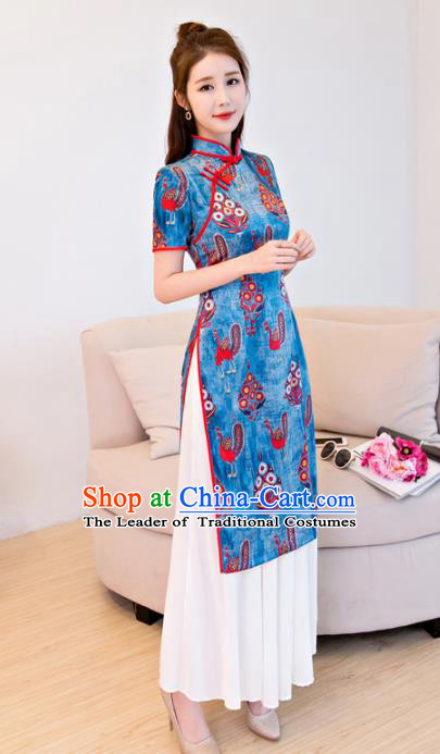 Chinese National Costume Retro Printing Blue Qipao Dress Traditional Republic of China Tang Suit Cheongsam for Women