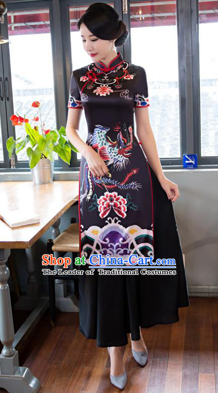 Chinese National Costume Retro Printing Phoenix Peony Black Qipao Dress Traditional Republic of China Tang Suit Cheongsam for Women