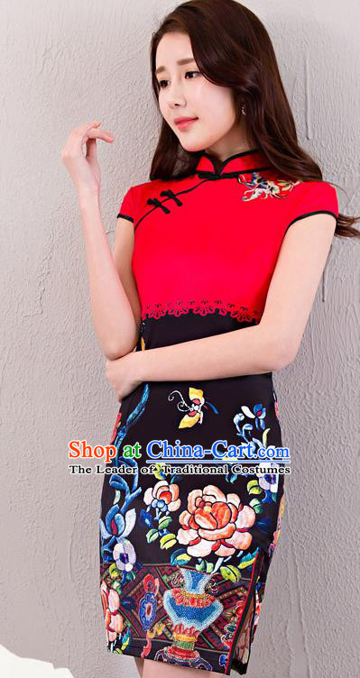 Chinese Top Grade Retro Red Satin Qipao Dress Traditional Republic of China Tang Suit Printing Cheongsam for Women