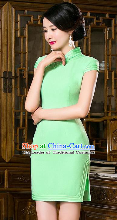Chinese Top Grade Retro Green Short Qipao Dress Traditional Republic of China Tang Suit Cheongsam for Women