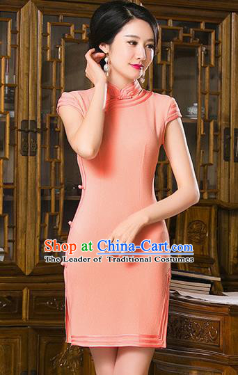 Chinese Top Grade Retro Orange Short Qipao Dress Traditional Republic of China Tang Suit Cheongsam for Women
