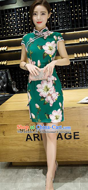 Chinese Top Grade Retro Printing Deep Green Short Qipao Dress Traditional Republic of China Tang Suit Cheongsam for Women