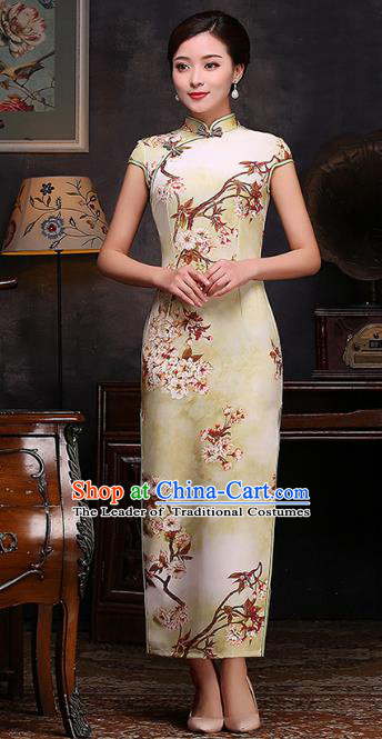 Chinese Top Grade Retro Printing Yellow Qipao Dress Traditional Republic of China Tang Suit Cheongsam for Women