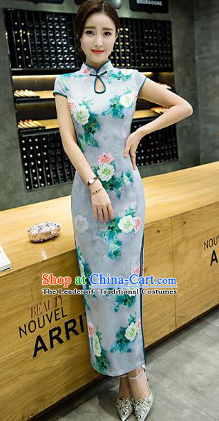 Chinese Top Grade Retro Printing Flowers Green Qipao Dress Traditional Republic of China Tang Suit Cheongsam for Women