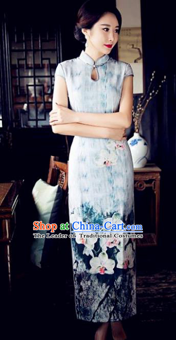 Chinese Top Grade Retro Printing Lotus Blue Silk Qipao Dress Traditional Republic of China Tang Suit Cheongsam for Women
