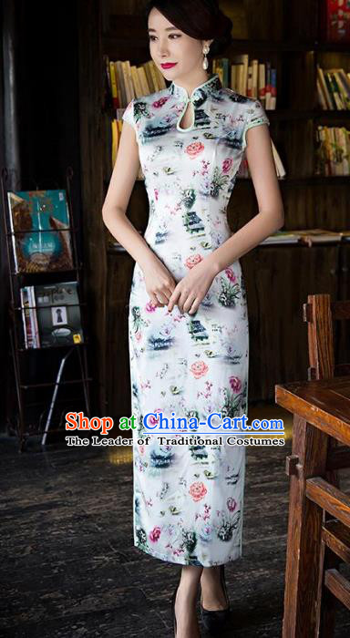 Chinese Top Grade Retro Printing Flowers Silk Qipao Dress Traditional Republic of China Tang Suit Cheongsam for Women