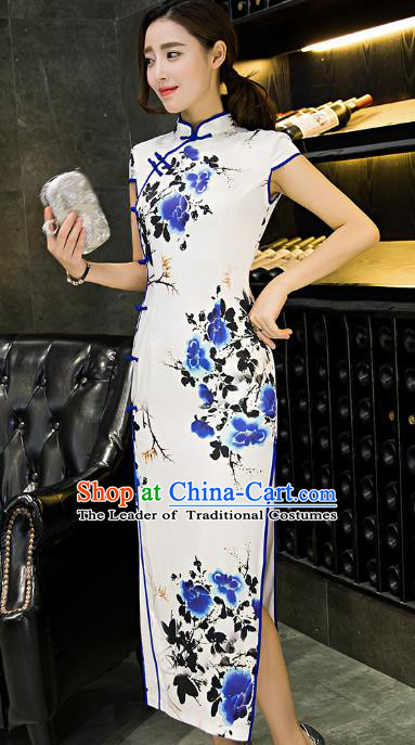 Chinese Top Grade Retro Printing Blue Flowers Silk Qipao Dress Traditional Republic of China Tang Suit Cheongsam for Women