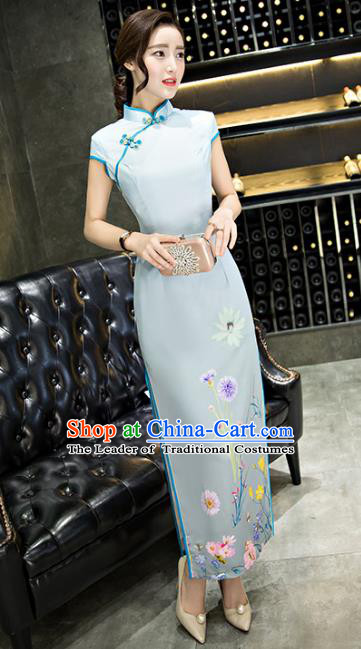 Chinese Top Grade Retro Printing Dandelion Blue Silk Qipao Dress Traditional Republic of China Tang Suit Cheongsam for Women