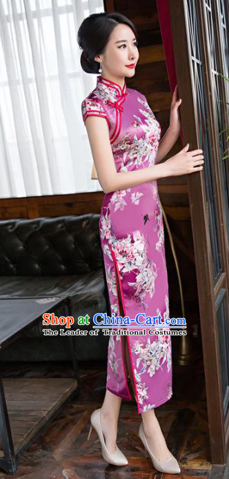 Chinese Top Grade Retro Printing Lilac Qipao Dress Traditional Republic of China Tang Suit Cheongsam for Women