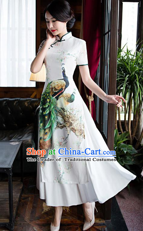 Chinese Top Grade Retro Printing Peacock White Qipao Dress Traditional Republic of China Tang Suit Cheongsam for Women