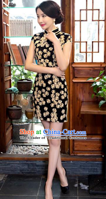 Chinese Top Grade Retro Black Short Qipao Dress Traditional Republic of China Tang Suit Cheongsam for Women