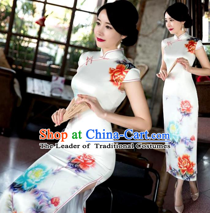 Chinese Top Grade Retro Qipao Dress Traditional Republic of China Tang Suit Printing Peony Cheongsam for Women