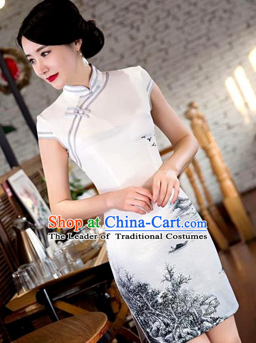 Chinese Top Grade Retro Landscape Painting Qipao Dress Traditional Republic of China Tang Suit Cheongsam for Women
