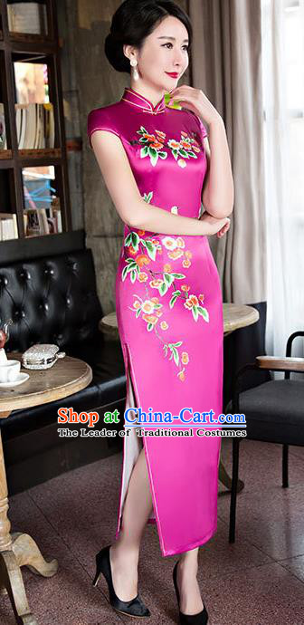Chinese Top Grade Elegant Qipao Dress Traditional Republic of China Tang Suit Rosy Silk Cheongsam for Women