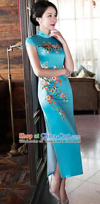 Chinese Top Grade Elegant Qipao Dress Traditional Republic of China Tang Suit Blue Silk Cheongsam for Women