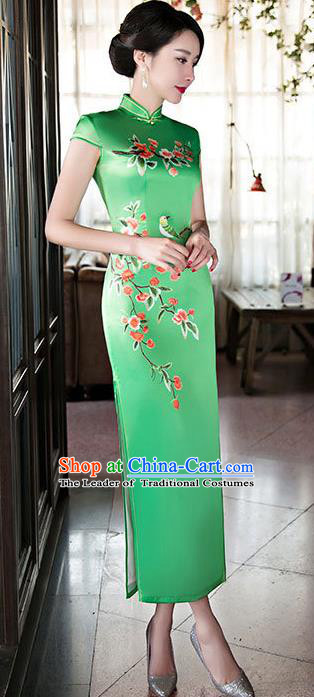 Chinese Top Grade Elegant Qipao Dress Traditional Republic of China Tang Suit Green Silk Cheongsam for Women