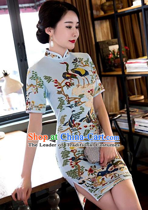 Chinese Top Grade Elegant Printing Crane Qipao Dress Traditional Republic of China Tang Suit Blue Cheongsam for Women