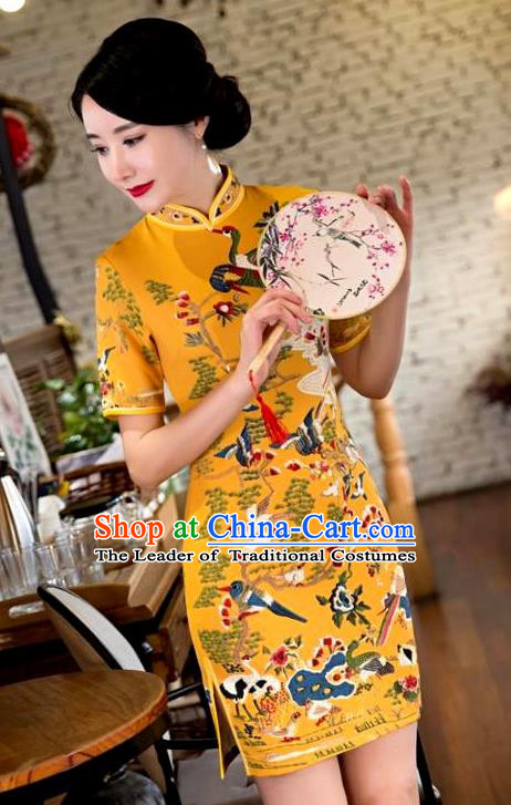 Chinese Top Grade Elegant Printing Crane Qipao Dress Traditional Republic of China Tang Suit Yellow Cheongsam for Women