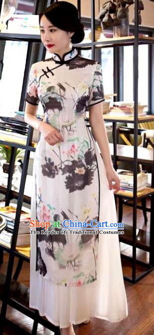 Chinese Top Grade Elegant Ink Painting Lotus Qipao Dress Traditional Republic of China Tang Suit White Cheongsam for Women