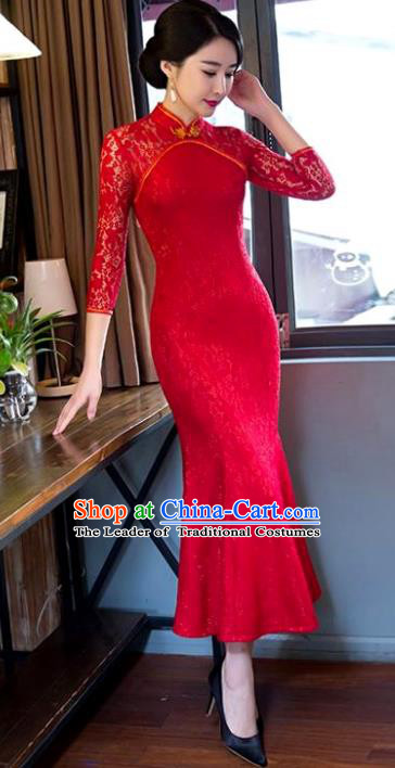 Chinese Top Grade Elegant Red Lace Qipao Dress Traditional Republic of China Tang Suit Fishtail Cheongsam for Women
