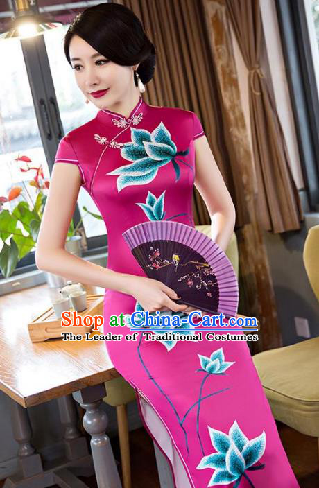 Chinese Top Grade Elegant Rosy Silk Qipao Dress Traditional Republic of China Tang Suit Printing Lotus Cheongsam for Women