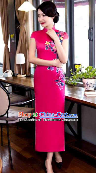 Chinese Top Grade Elegant Printing Peony Flowers Rosy Silk Qipao Dress Traditional Republic of China Tang Suit Cheongsam for Women