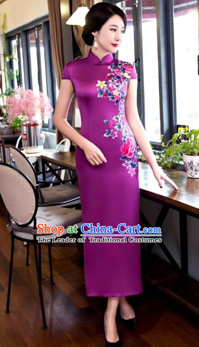 Chinese Top Grade Elegant Printing Peony Flowers Purple Silk Qipao Dress Traditional Republic of China Tang Suit Cheongsam for Women