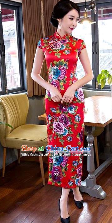 Chinese Top Grade Elegant Printing Peony Flowers Red Silk Qipao Dress Traditional Republic of China Tang Suit Cheongsam for Women