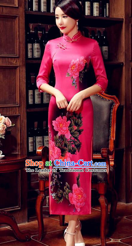 Top Grade Chinese Elegant Printing Peony Rosy Cheongsam Traditional Republic of China Tang Suit Silk Qipao Dress for Women