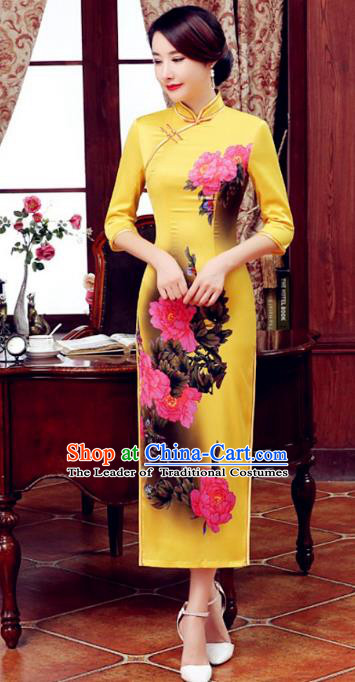 Top Grade Chinese Elegant Printing Peony Yellow Cheongsam Traditional Republic of China Tang Suit Silk Qipao Dress for Women