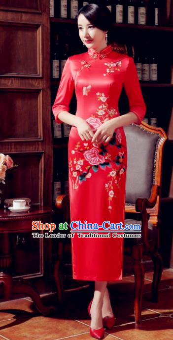 Top Grade Chinese Elegant Printing Peony Red Cheongsam Traditional Republic of China Tang Suit Silk Qipao Dress for Women