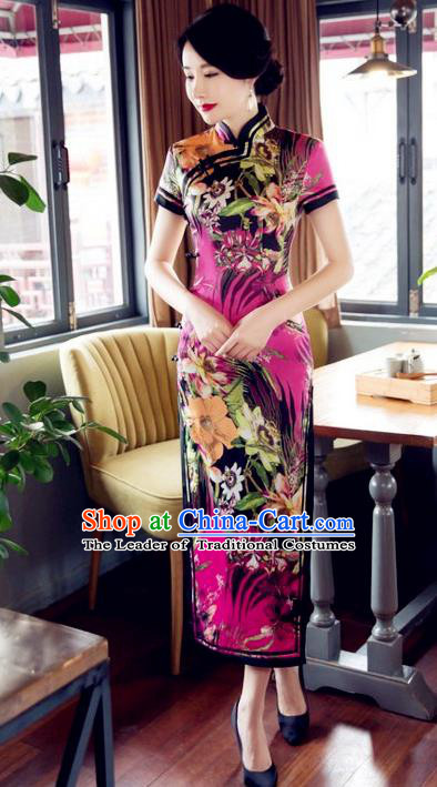 Top Grade Chinese Elegant Printing Purple Cheongsam Traditional Republic of China Tang Suit Silk Qipao Dress for Women