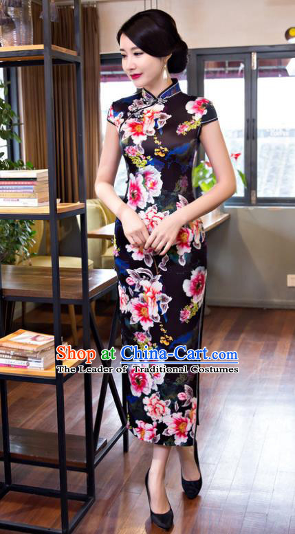 Top Grade Chinese Elegant Printing Flowers Black Cheongsam Traditional Republic of China Tang Suit Silk Qipao Dress for Women