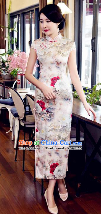 Top Grade Chinese Elegant Printing Peony Flowers Cheongsam Traditional Republic of China Tang Suit Silk Qipao Dress for Women