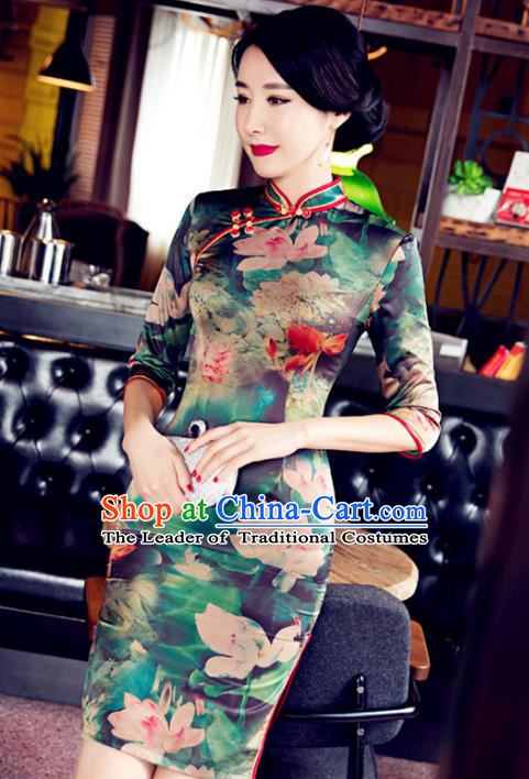 Top Grade Chinese Elegant Printing Lotus Green Cheongsam Traditional Republic of China Tang Suit Silk Qipao Dress for Women