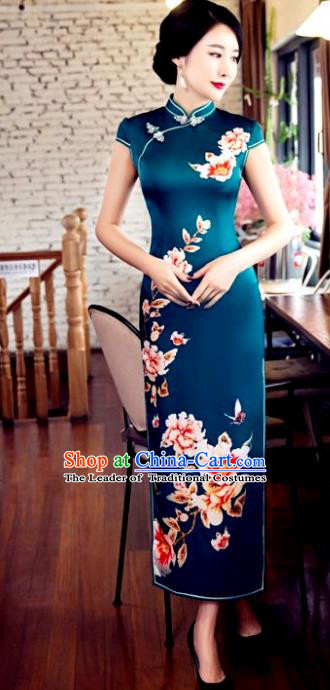 Top Grade Chinese Elegant Peacock Green Cheongsam Traditional Republic of China Tang Suit Silk Qipao Dress for Women