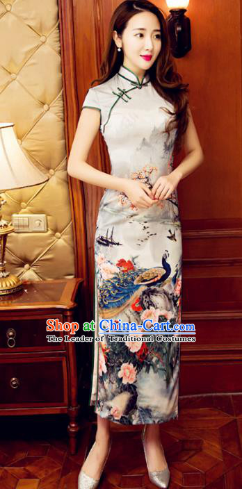 Top Grade Chinese Elegant Cheongsam Traditional Republic of China Tang Suit Printing Peacock Qipao Dress for Women