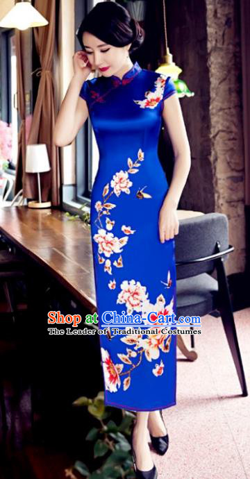 Top Grade Chinese Elegant Blue Cheongsam Traditional Republic of China Tang Suit Silk Qipao Dress for Women