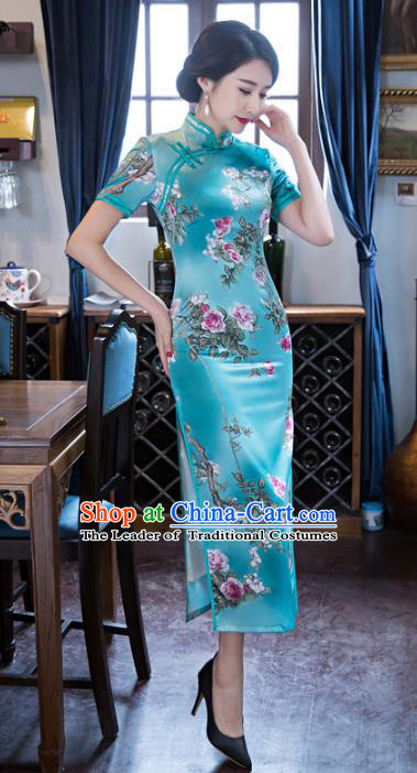 Top Grade Chinese Elegant Cheongsam Traditional Republic of China Tang Suit Lake Blue Qipao Dress for Women